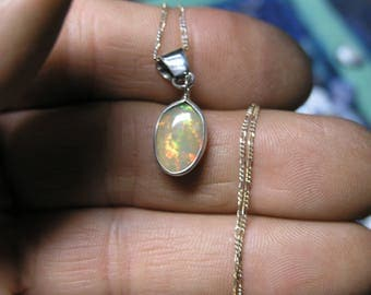 1000-36 Sterling Necklace with Ethiopian Opal
