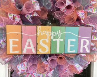 Ready to ship! Pastel Happy Easter Deco Mesh Ribbon Wreath Light pink, light blue, coral and lavender deco mesh
