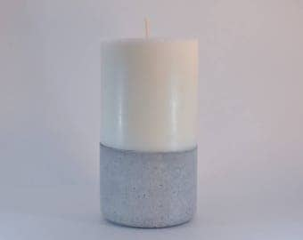 Medium Soy Wax Pillar Candle with Concrete Base - Unscented