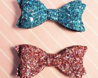 Set of 2 Glitter Hair Bows,  Girls Hair Accessories, Baby Headband, Hair Clip, Hair Bow