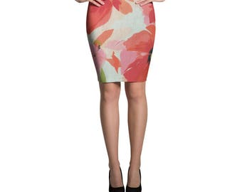 Pink Floral Pencil Skirt