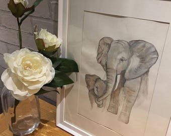 Personalised Elephant watercolour print