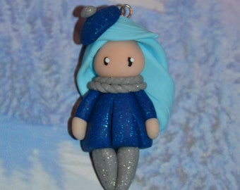Baby blue dress polymer clay glitter, sky - winter Collection - handmade jewelry