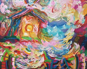 """Fedir Panchuk original oil painting on canvas """"House of lovers"""""""