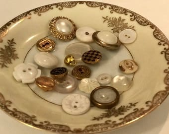 Vintage White and Gold Buttons