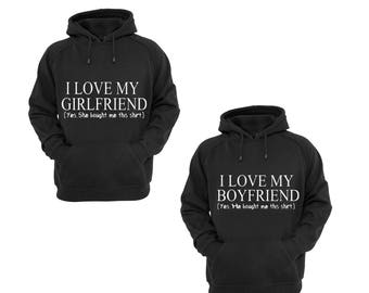 Hoodies for Couple I Love My Boyfriend,I Love My Girlfriend Funny Couple Goal Popular Designs