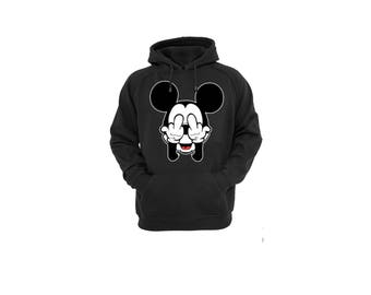 Hoodies for Women and Men Disney Mickey Mouse Fingers Unisex Cotton Pullover Hooded Sweatshirt
