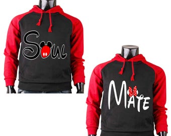 Two Color Hoodies for Women Minnie Mouse Mate Part Couple Match, Men Mickey Mouse Soul Part Couple Match Raglan Cotton Pullover Sweatshirt