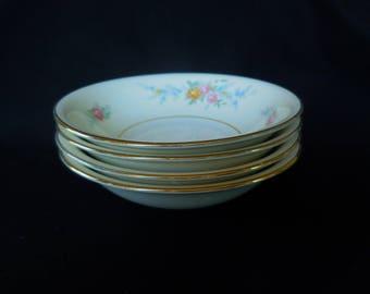 Vintage Berry/Fruit Bowls Set of Four/Homer Laughlin/ Nautilus Ferndale Pattern/ Eggshell China
