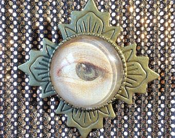 Lover's Eye Glass Cabochon Brooch