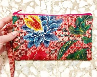 Batik Wristlet Clutch Bag Handmade in Singapore