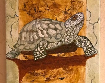 Original acrylic painting of a turtle