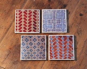 Ceramic Coasters red, blue Serie Mexican Ceramics - Epoxy