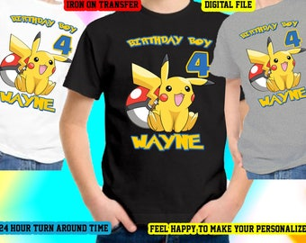 Pokemon Iron On Transfer, Pokemon Birthday Shirt Iron On Transfer, Pokemon Birthday Boy Iron On Transfer, Personalize,Digital File Only