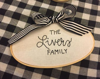 Family Embroidered Hoop