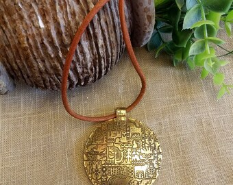 Boho Brass Necklace – 3D Brass Disc-Round Brass Necklace with Embossed Design