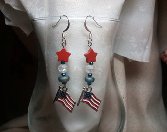 Patriotic red white and blue earrings with American flags