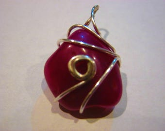 Pink Wire Wrapped Pendant