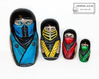 "Matryoshka Nesting doll Russian Wooden doll ""Mortal combat"""