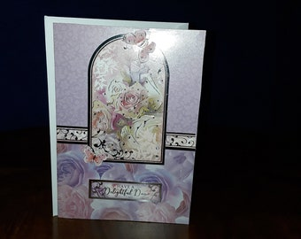 Pink/silver greeting card