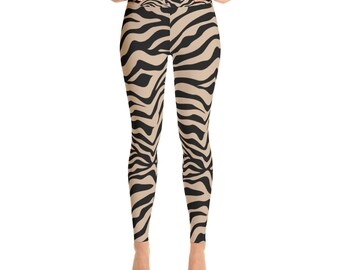 Black Tan Zebra Yoga Leggings Yoga exercise legging