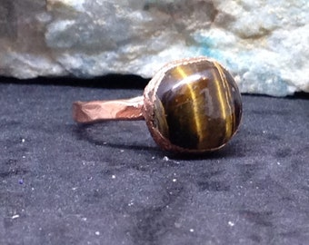 Rustic Copper Tiger Eye Ring