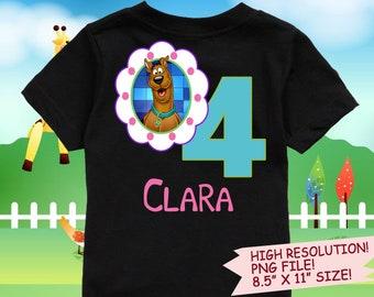 Scooby Doo Iron On Transfer. Scooby Doo Birthday Shirt DIY. Scooby Doo Printable Decal Design. Girl Birthday Shirt DIY. Digital Files.