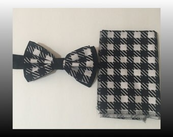 Black & White Checkerboard W/Pocket Square