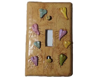 Distressed Heart Switch plate - Pastel and Ecru Switchplate - Polymer Clay Beige Switch plate- Nursery Switchplate - Decorative switchplate