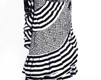 25Yard Black White Striped Tribal  Gypsy Layer Beautiful ATS Skirt~