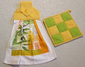 Tea Towel & Matching Pot Holder Set: Yellow, Olives and Olive Oil