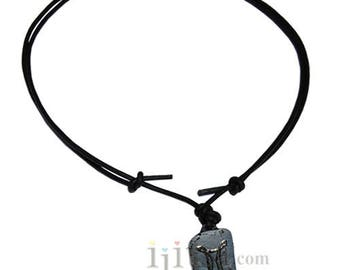 Adjustable leather necklace with Gemini zodiac charm