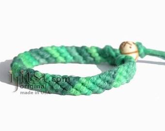 Ultra Soft  Rainbow Green Hemp Diagonal Surfer Bracelet/Anklet