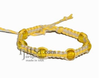 Yellow and natural flat hemp bracelet or anklet with yellow glass beads