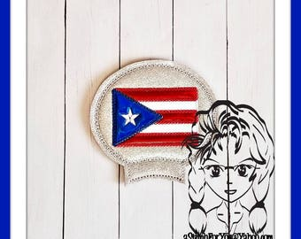 PUERTO RiCO FLaG Ear (Add On ~ 1 Pc) Mr Miss Mouse Ears Headband ~ In the Hoop ~ Downloadable DiGiTaL Machine Embroidery Design by Carrie