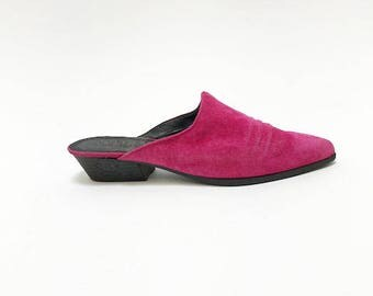 90s PINK SUEDE MULES - sz 8.5