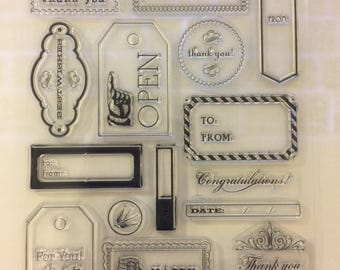 Clear cling rubber stamps tags gift giving