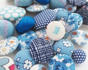 Grab Bag of Blue Fabric Buttons