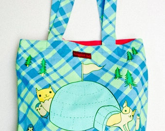 Large tote bag canvas tote bag, illustrated tote bag kawaii tote bag, canvas bag, market bag, plaid gifts, plaid tote bag