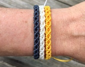 Micro-Macrame Adjustable Bracelet Stack - Navy, White, Yellow