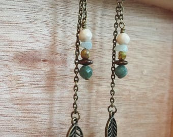 Boho Long Dangle Earrings - Antique Gold Chain with Leaf & Gemstone Beads - Bohemian Earrings, Hippie, Gift for Her, Gift Under 25