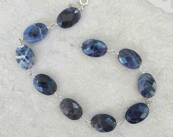 Chunky navy-blue sodalite sterling silver bracelet