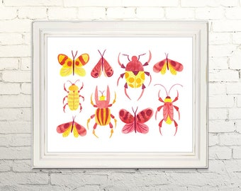 INSECTS and BUTTERFLIES Printable Art Print Poster Watercolor Illustration Wall Art Decor Nature Entomology Bug Beetle  5x7, 8x10, 11x14
