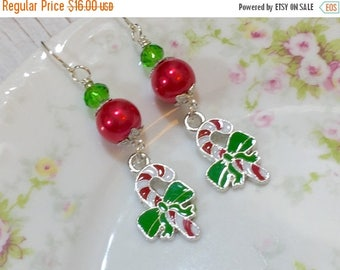 Christmas in July SALE. Candy Cane Earrings, Christmas Earrings, Holiday Jewelry, Red and Green Earrings, Candy Earrings, Festive Earrings,