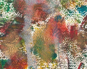 Autumnal fireworks - small acrylic painting in fall colours browns, ochres and metallics