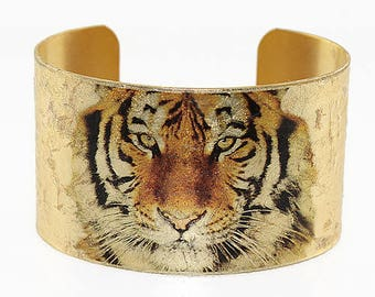 Photo Cuff, Brass Cuff Bracelet, Altered Art Jewelry, Photo Jewelry, Gold Leaf Cuff, TIGER Cuff - BIG CATS