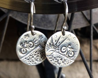 Uphill and Downhill MTB Cycling Earrings - Sterling Silver