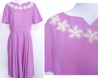 Lavender Flower Dress - Short Sleeve Day Dress - White Floral Lace Applique Neckline - Handmade Vintage 50s 60s - Flattering Fit & Flare