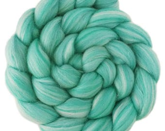Custom Blended 100% Merino Wool Roving Top - 4 oz. TURQUOISE - Spinning Felting Fiber