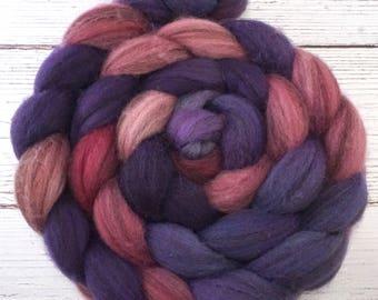 Handpainted Heathered BFL Wool Roving - 4 oz. METEOR SHOWER - Spinning Fiber